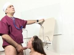 Russian Brunette Strips For Her Doctor