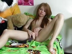 Cute girlie has craxy sex with dildo
