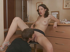 Leggy brunette gets her asshole licked by eager boy
