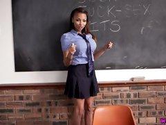Slutty busty ebony teacher Ruby Summers is teaching how to wank