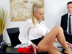 Office hardcore with blonde Kayla Green