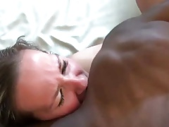 Cuckold cheers up wife and black bull (very short)