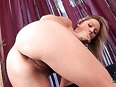 Blonde fucks asshole and hairy pussy with dildo