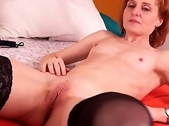 Amateur mature redhead granny Zuzka takes off her panties