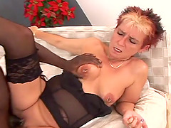 Interracial sex for the slutty mature Jana