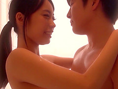 Gorgeous Japanese girl fucks her lover in a shower and a bedroom