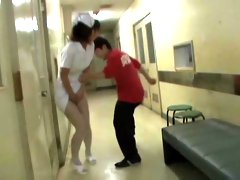 Kinky dude does panty sharking to the pretty Japanese nurse