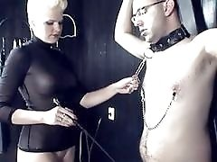 Busty German mistress fucks with her submissive little slave BDSM