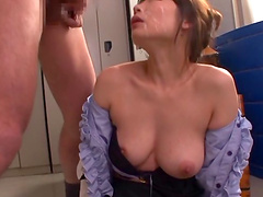 Flirtatious Asian babe gets a facial creampie after giving blowjobs in a saucy bukkake party