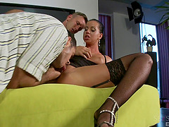 Black haired slut in stockings gets drilled nicely during a threesome