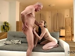 Teen rides old mans dick with her sweet pussy