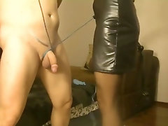 She ties his cock up and then fucks him hard