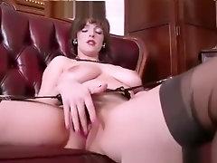 Big natural tits brunette masturbates in retro nylons garter