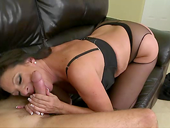Dude fucks a horny milf on the couch
