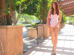 Redhead in tight dress doesn't have undies on
