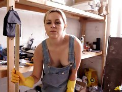 Cute nude blonde in overalls Anna Belle shows off her hard and perky nipples
