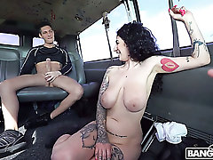 Picked up huge breasted Arabelle Raphael gives titjob and enjoys anal in car