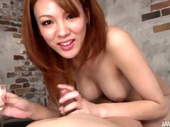 Blowjob and cock ride at the basement with Japanese cutie Rei
