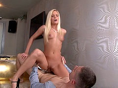 Blonde keeps her cool while getting it missionary then moans noisily when it gets doggy