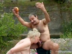 Rapacious daddy welcomes blowjob from fat mature and young curvy slut
