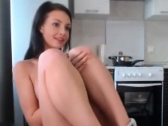 Sexy young girl with sexy nice tits playing on webcam