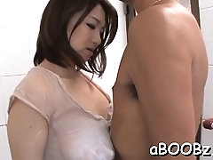 Sexual Mio Takahashi with great tits rides boner well