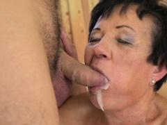 Jizzy grandmother blows