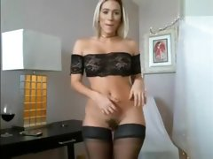 Hot Big Boobs Blonde Babe In Black Lingerie On Cam