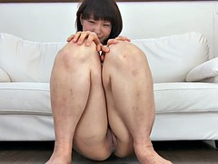 Japanese sweetie shows off her tiny shaved meat hole