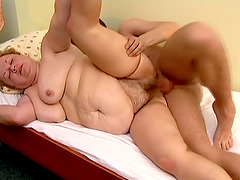 Leila blows and gets her meaty and hairy cunt smashed