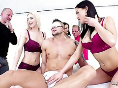 Lusty nympho Angie Moon has nothing against kinky orgy party