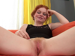 Lecherous redhead gets her hairy pussy nailed hardcore by big black cock