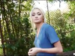 Slim Eurobabe drilled in public for cash