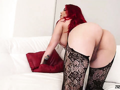 All alone red haired tranny Jade Lagunes wanks her own strong big cock