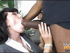 Cock hungry brunette slut sucks fat monster cock in office