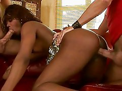Sexy black girl fucking with two white guys
