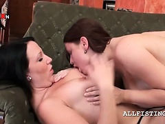 Mature topless lesbos licking boobies on couch